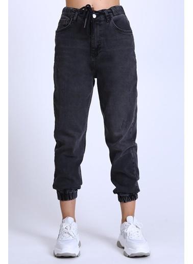 Female Project Antrasit Lastikli Paça Yüksel Bel Jogger Jeans Antrasit